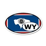 Wyoming State Flag 35x21 Oval Wall Peel