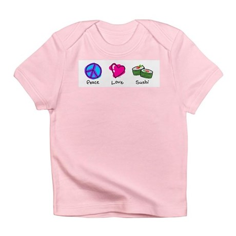 Peace, Love and sushi Creeper Infant T-Shirt
