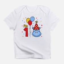 Blue Hippo Face First Birthday Infant T-Shirt