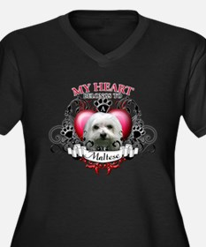 My Heart Belongs to a Maltese Women's Plus Size V-