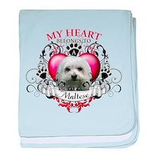 My Heart Belongs to a Maltese baby blanket