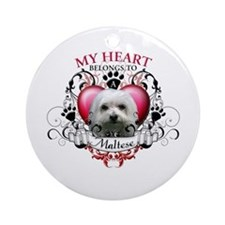 My Heart Belongs to a Maltese Ornament (Round)