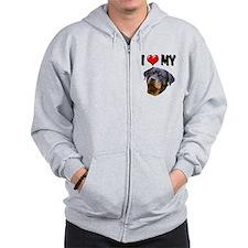 I Love My Rottweiler 2 Zip Hoodie