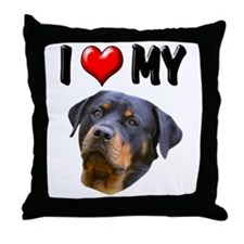 I Love My Rottweiler 2 Throw Pillow