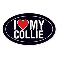 I Love (Heart) My Collie Sticker/Decal (Oval)