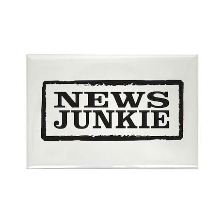 News Junkie Rectangle Magnet