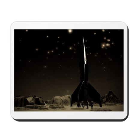Spacemen and Rocketship Mousepad