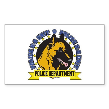 Police K9 Belgian Malinois Sticker (Rectangle)