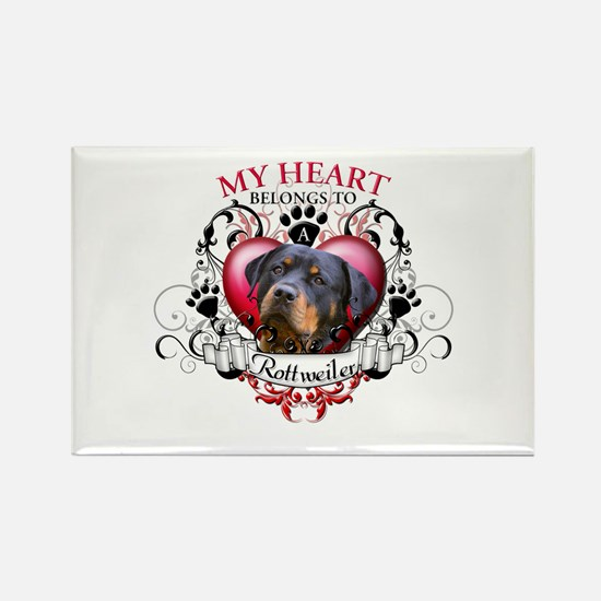 My Heart Belongs to a Rottweiler 2 Rectangle Magne