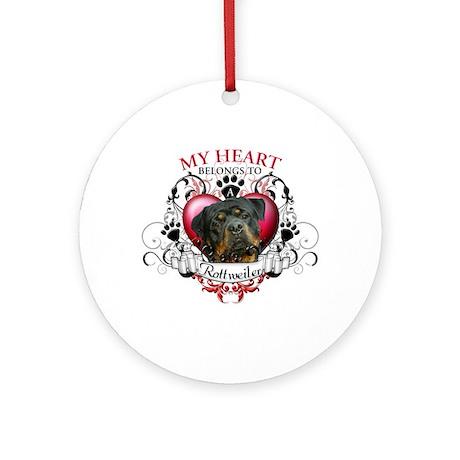 My Heart Belongs to a Rottweiler 3 Ornament (Round