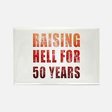 Raising Hell 50th Birthday Rectangle Magnet