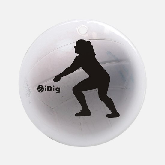 iDig Volleyball Ornament (Round)
