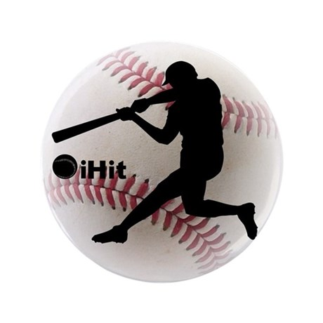 "Baseball iHit 3.5"" Button"