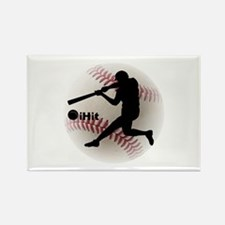 Baseball iHit Rectangle Magnet