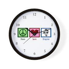 Peace Love Dragons Wall Clock