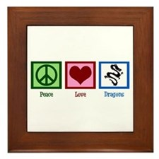 Peace Love Dragons Framed Tile