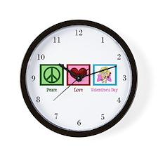 Peace Love Valentine Wall Clock