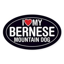 I Love My Bernese Mountain Dog Sticker/Decal(Oval)