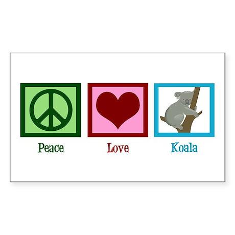 Peace Love Koala Sticker (Rectangle)