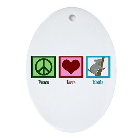 Peace Love Koala Ornament (Oval)