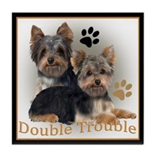 Yorkie Double Trouble Tile Coaster