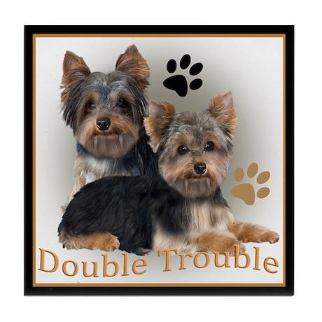 Yorkie Double Trouble Tile Coaster