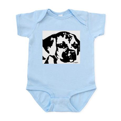 puggle - black & white Infant Bodysuit
