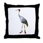 Red Heron Wearing Shoes Throw Pillow