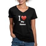 I Love My Sister Women's V-Neck Dark T-Shirt