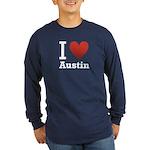 I Love Austin Long Sleeve Dark T-Shirt