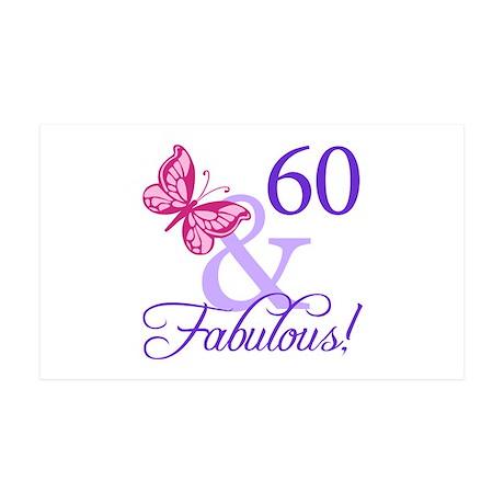 60 And Fabulous Birthday 35x21 Wall Peel