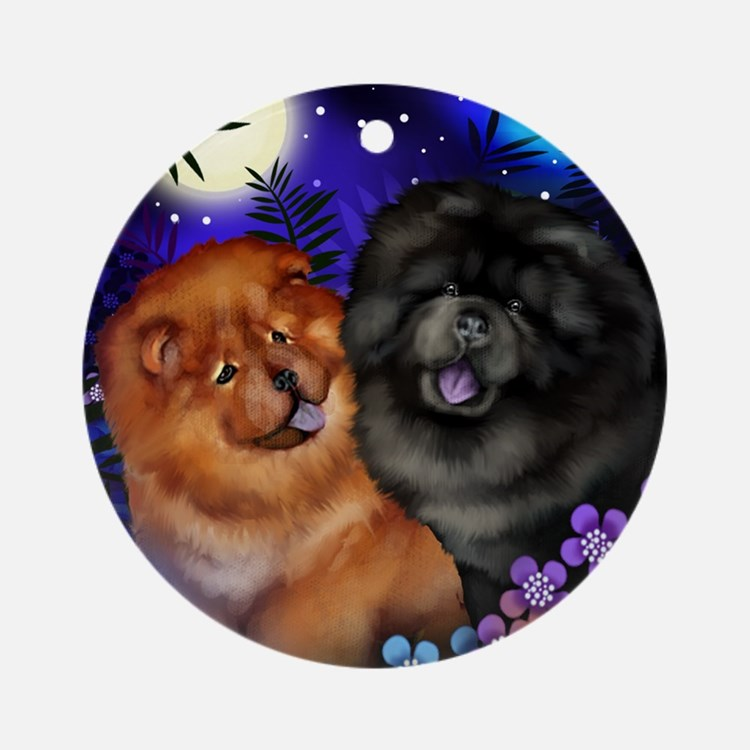 Red and Black Chow Chow Dogs Moon Ornament (Round)