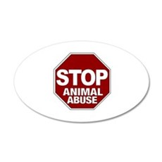 Stop Animal Abuse 20x12 Oval Wall Peel
