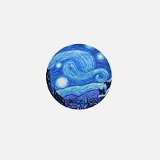 Starry Night Border Collies Mini Button