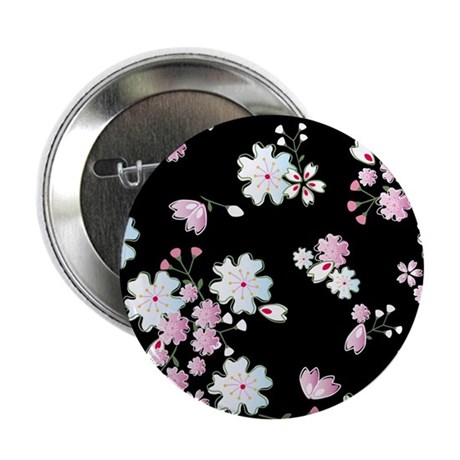 "Japanese cherry blossoms blac 2.25"" Button"