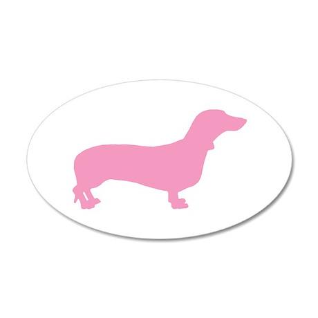 Pink Dachshund 20x12 Oval Wall Peel