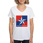 USA Star with 4 Squares Women's V-Neck T-Shirt