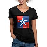 USA Star with 4 Squares Women's V-Neck Dark T-Shir