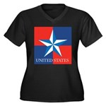 USA Star with 4 Squares Women's Plus Size V-Neck D
