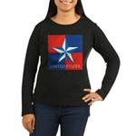 USA Star with 4 Squares Women's Long Sleeve Dark T