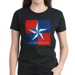 USA Star with 4 Squares Women's Dark T-Shirt
