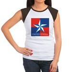 USA Star with 4 Squares Women's Cap Sleeve T-Shirt