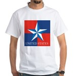 USA Star with 4 Squares White T-Shirt