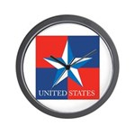 USA Star with 4 Squares Wall Clock