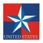 USA Star with 4 Squares Tile Coaster