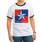 USA Star with 4 Squares Ringer T
