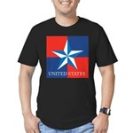 USA Star with 4 Squares Men's Fitted T-Shirt (dark
