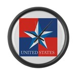 USA Star with 4 Squares Large Wall Clock