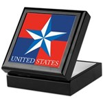 USA Star with 4 Squares Keepsake Box