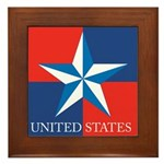 USA Star with 4 Squares Framed Tile